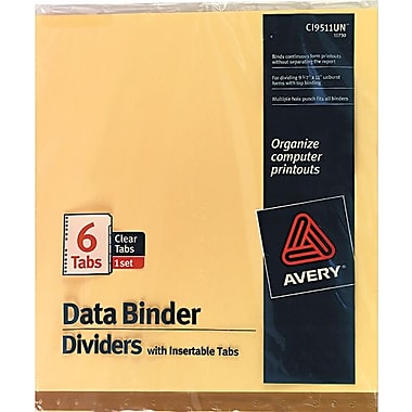 Avery® 9-1/2in. x 11in. Data Binder Insertable Tab Dividers, 6-Tab, 1 Set/Pack