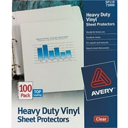 Avery(R) Heavy Duty Vinyl Sheet Protectors 73900, Clear, Box of 100
