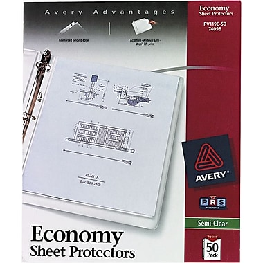 Avery in.Non-Stickin. Top-Loading Sheet Protectors, Standard-Weight, Semi-Clear, 50/Pk