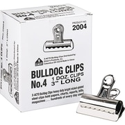 "X-ACTO® Bulldog® Clips, 1"" Capacity, 3"" Wide, 12/Bx"