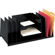 "MMF Industries Desk File Organizer, 9 Compartments, Black, 8 3/4""H x 21 1/2""W x 11""D"