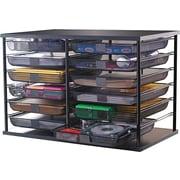 "Rubbermaid Supplies Organizer w/ Mesh Drawers, 12 Compartments, Black, 7 1/8"" x 29 1/8"" x 16 3/8"""