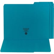 "Smead Top Tab Folders, 1/3 Cut, Teal, LETTER-size Holds 14 5/8"" x 9 1/2"", 100/Bx"