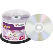 Verbatim DVD+R Recordable Discs on Spindle, 4.7GB, 120 Minute, Silver Matte, 50/Pk