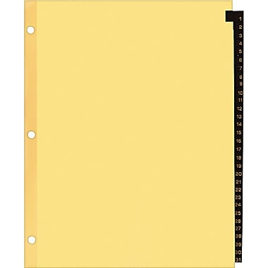 Staples Red Leather Monthly Tab Dividers, 1-31