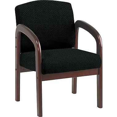 Office Star Custom Mahogany Wood Visitor's Chair, Jet