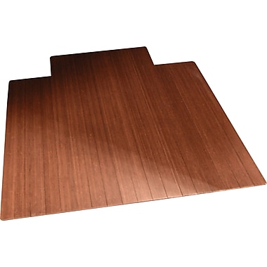 Anji Mountain Roll-Up Bamboo Chair Mat, Standard Lip, 36'' x 48'', Dark Cherry