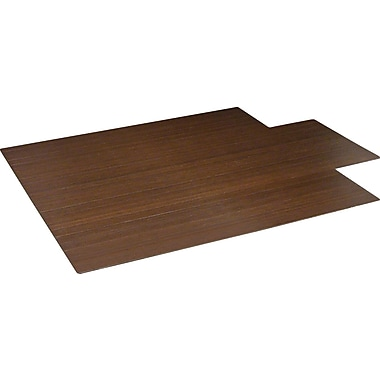 Anji Mountain Roll-Up Bamboo Chair Mat, Standard Lip, 55'' x 57'', Dark Cherry
