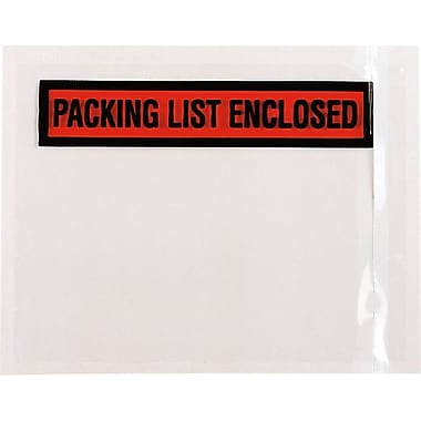 Staples ®in.Packing List Enclosedin. Labels, 4 1/2in. x 5 1/2in., 500/Pack