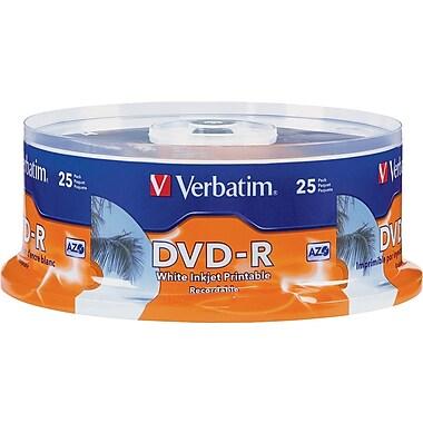 Verbatim® - DVD-R 4,7 Go, 16x, blancs imprimables jet d'encre, imprimable au centre, paquet cylindrique de 25