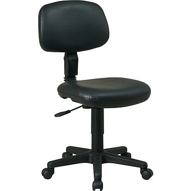 Office Star Basic Faux-Leather Task Chair, Armless, Black