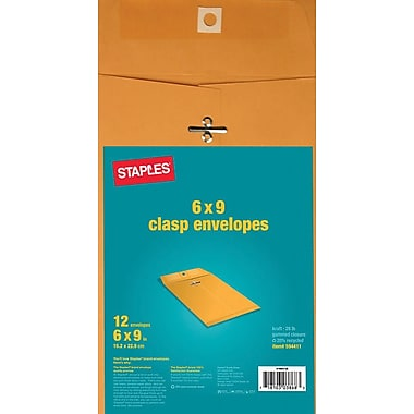 Staples Brown Kraft Clasp Envelopes