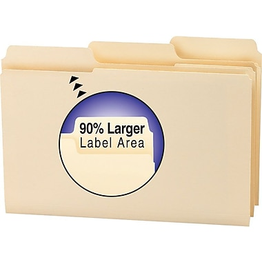 Smead® SuperTab File Folders, Legal, 3 Tab, Manila 100/Box
