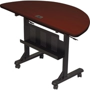 Balt 4' Half Round Laminate Flipper Training Table, Mahogany