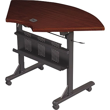 Balt 4' Quarter Round Laminate Flipper Training Table, Mahogany
