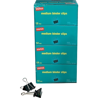 Staples Medium Metal Binder Clips Bulk Pack, Black, 1 1/4