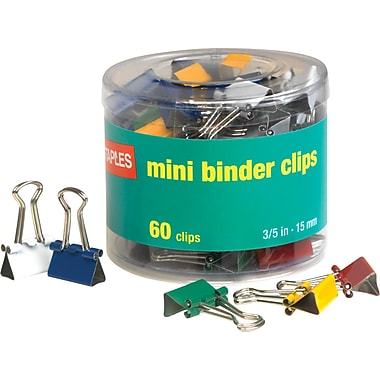 Staples Mini Colored Binder Clips, 3/5in. Size with 1/4in. Capacity