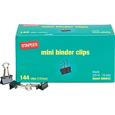 Staples Mini Metal Binder Clips Bulk Pack, Black, 3/5in. Size with 1/4in. Capacity