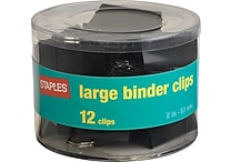 Staples® Large Metal Binder Clips, Black, 2' Size with 1' Capacity