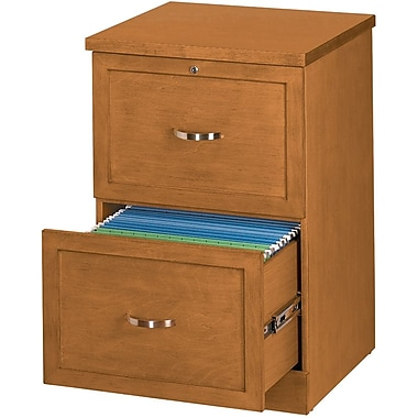 Staples® Vertical Wood File Cabinet, 2-Drawer, Light Cherry