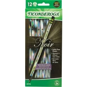 Ticonderoga ® Noir Woodcase Pencil, HB-Soft, No. 2 Lead, Holographic Barrel, Dozen