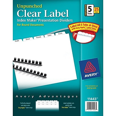 Avery Index Maker® Unpunched Clear Label Dividers for Bound Documents