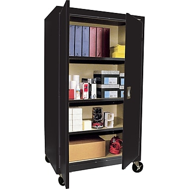 Sandusky Large Mobile Storage Cabinet, 60in.H x 36in.W x 24in.D, Black