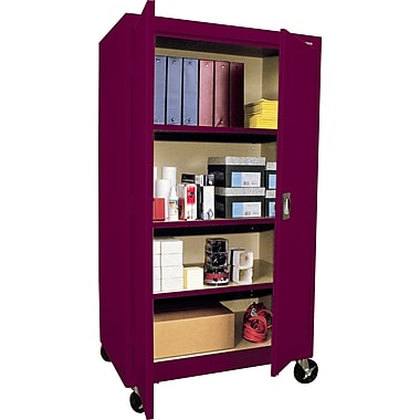 Sandusky Large Mobile Storage Cabinet, 60in.H x 36in.W x 24in.D, Burgundy