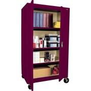 "Sandusky Large Mobile Storage Cabinet, 60""H x 36""W x 24""D, Burgundy"