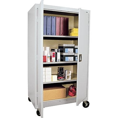 Sandusky Large Mobile Storage Cabinet, 60in.H x 36in.W x 24in.D, Dove Gray