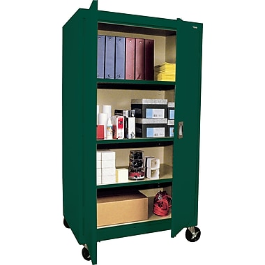 Sandusky Large Mobile Storage Cabinet, 60in.H x 36in.W x 24in.D, Green
