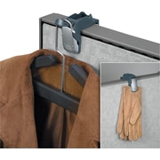 Fellowes Partition Additions Over-The-Panel Coat Hook and Glove Clip, Slate Gray