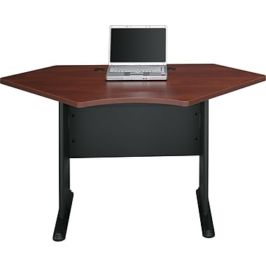 Bush® Cubix 42in. Corner Desk, Hansen Cherry/Galaxy, Fully assembled