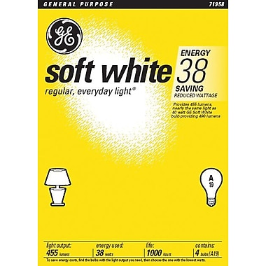 38 Watt GE A-19 Longer-Life Incandescent Bulbs, Soft White, 4/Pack