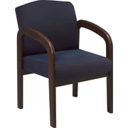Office Star™ Wood Guest Chair, Espresso Finish Wood with Blue Fabric