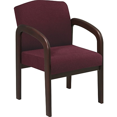 Office Star™ Wood Guest Chair, Espresso Finish Wood with Ruby Fabric