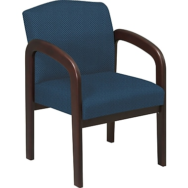 Office Star™  Custom Wood Guest Chair, Espresso Finish Wood with Blue Galaxy Fabric