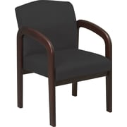 Office Star™ Custom Wood Guest Chair, Espresso Finish Wood with Jet Fabric