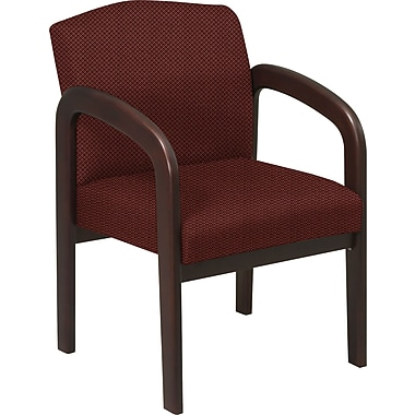 Office Star™ Custom Wood Guest Chair, Espresso Finish Wood with Wine Fabric