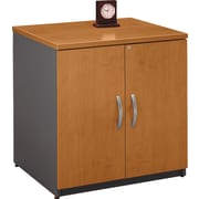 Bush Business Westfield 30W Storage Cabinet, Natural Cherry/Graphite Gray, Installed