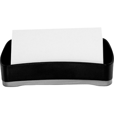 Storex Black Plastic Desk Business Card Holder (Recycled)
