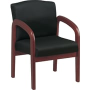 Office Star Black Fabric Wood Guest Chair, Cherry Finish (WD387-363)
