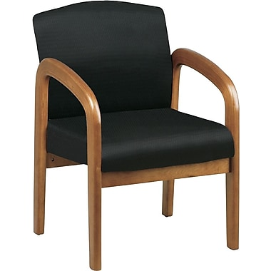 Office Star™ Wood Guest Chair, Medium Oak Finish Wood with Black Fabric