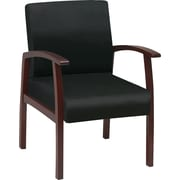 Office Star™ Black Fabric with  Cherry Finish Wood Guest Chair