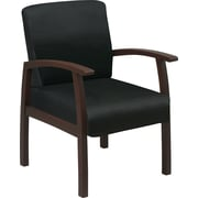 Office Star™ Black Fabric with Espresso Finish Wood Guest Chair
