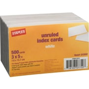 "Staples Index Cards, 3"" x 5"" Unruled, White, 500/Pack (23631/40800)"