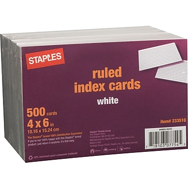 Staples® 4in. x 6in. Line Ruled White Index Cards, 500/Pack