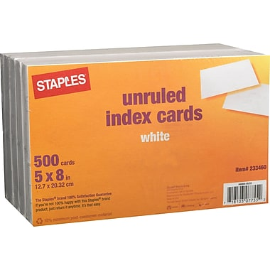 Staples® 5in. x 8in. Unruled White Index Cards, 500/Pack