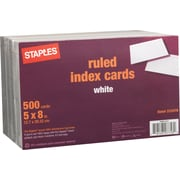 Staples® 5 x 8 Line Ruled White Index Cards, 500/Pack