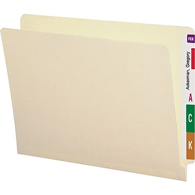 Smead 100% Recycled Reinforced End-Tab Folders, Letter, 100/Box